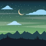 starry night sky silhouette of the mountain landscape vector illustration