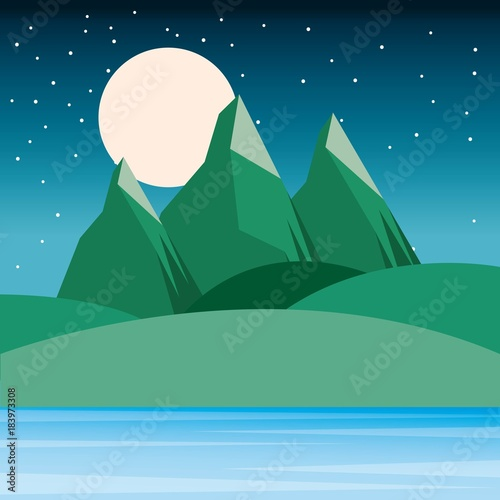 night landscape mountains hills moon and sky starry vector illustration