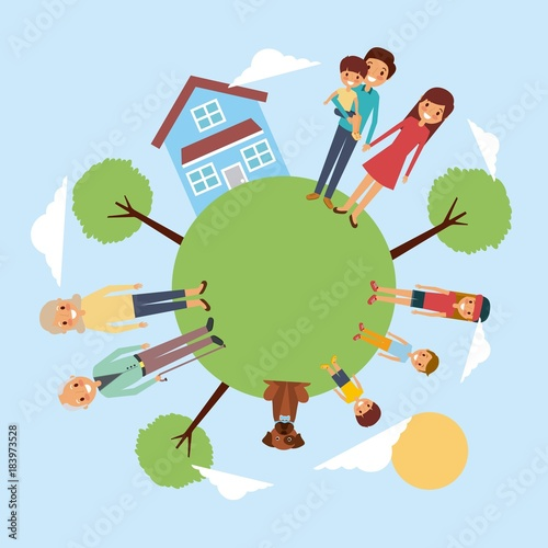 family around meadow house pet tree sky vector illustration