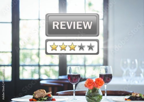 Poster Review button and star ratings in restaurant