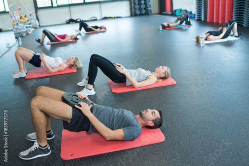 Sticker fitness athletes at the gym club