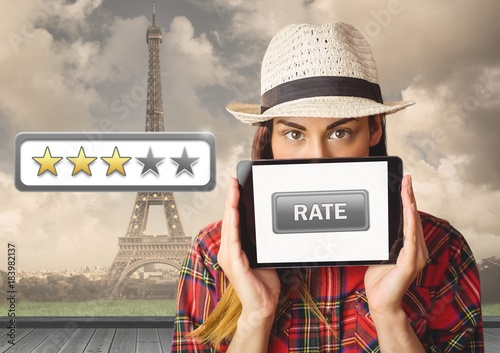 Poster Woman holding tablet with rate button and star reviews over