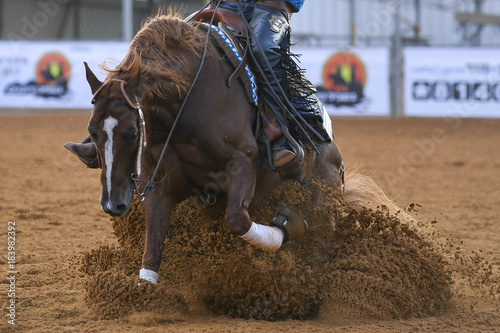 The front view of a rider in cowboy chaps and boots sliding the horse into the sand © PROMA