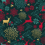 Christmas gold deer decoration seamless pattern - 183983181