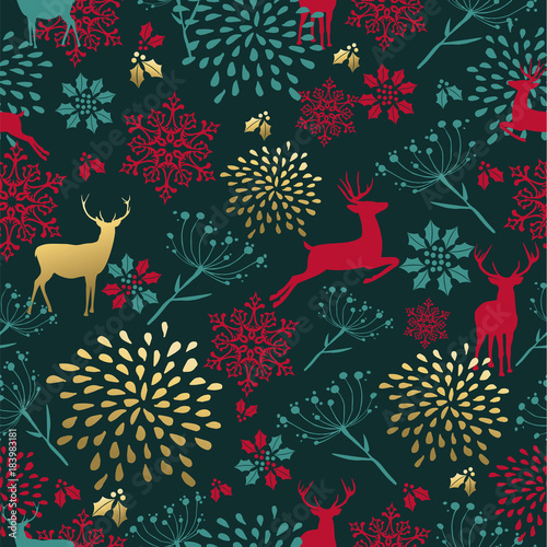 Foto op Aluminium Hoogte schaal Christmas gold deer decoration seamless pattern