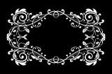 Floral ornament on black background. Vintage frame - 183987954