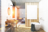 White, wooden bathroom and a bedroom toned - 183995798