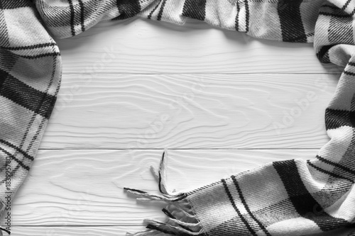 blanket lies on a white wooden background Poster