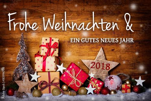 Weihnachtskarte  -  Frohe Weihnachten und ein gutes neues Jahr 2018 - 183996708
