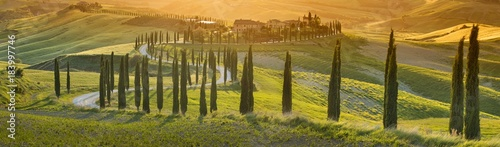 orange sunset in Tuscany in Italy - 183997746