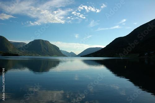 Poster Groen blauw Norway fjords