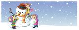niños jugando con muñeco de nieve