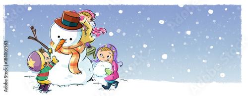 Plexiglas Wit niños jugando con muñeco de nieve