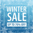 Winter Sale Poster on Blue Background - Vector