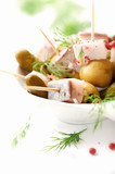 Herring with pickled green olives and cucumber - 184005398