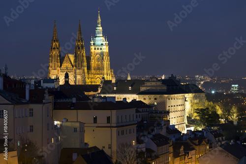Fridge magnet Winter night Prague City with gothic Castle, Czech Republic