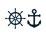 Ship and Boat Helm Steering Wheel and Ancor Illustration Logo Symbol