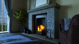 3D lounge interior with roaring fire in fireplace - 184012316
