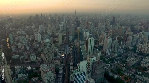 Aerial view at Bangkok evening. Top view of Asoke on Sukhumvit road in Bangkok. Thailand