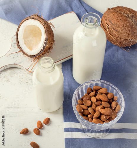 Foto op Plexiglas Milkshake Coconut and almond milk.