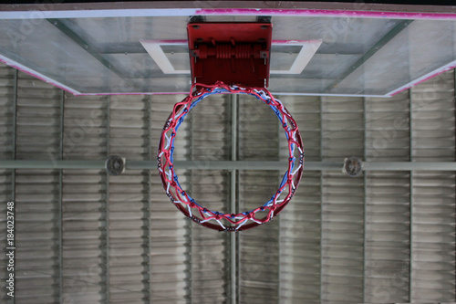 Plexiglas Basketbal Close up view of basketball hoop