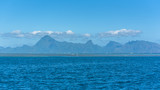 Tahiti in french Polynesia, beautiful panorama of the mountains from the lagoon, with the coral reef   - 184024926