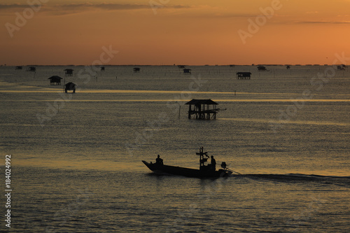 In de dag Ochtendgloren the landscape photo of fishing village in sunrise, the famous place for travel in Thailand