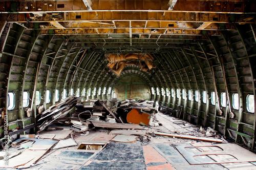 Staande foto Oude verlaten gebouwen interior of abandoned plane