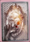 Paese delle meraviglie.Specchio magico e stregato con foglia,mano e chiave d'oro - 184028965