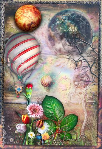 Foto op Plexiglas Imagination Bosco incantato e fiorito con volo di mongolfiere