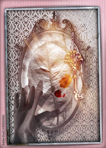 Staande foto Imagination Paese delle meraviglie.Specchio magico e stregato con foglia,mano e chiave d'oro