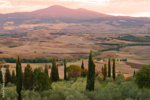 Half an hour before sunset. Surroundings Pienza, Italy