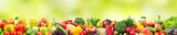 Panoramic wide photo healthy and useful vegetables and fruits isolated on white background.