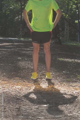Runner / jogger making pause in the park.