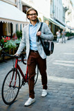 Stylish Man With Bicycle Going To Work On Street. - 184037122
