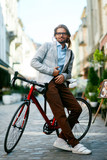 Way To Work. Portrait Of Man With Bicycle On City Street. - 184037741