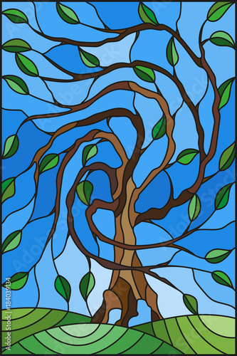ilustracja-w-witrazu-stylu-z-drzewem-na-nieba-tle