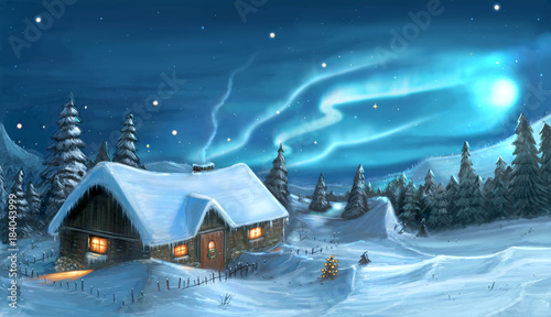 Digital Painting of Snowy Winter Christmas Night Cottage © Zdenek Sasek