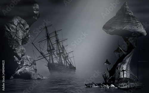 foggy-landscape-and-shipwreck