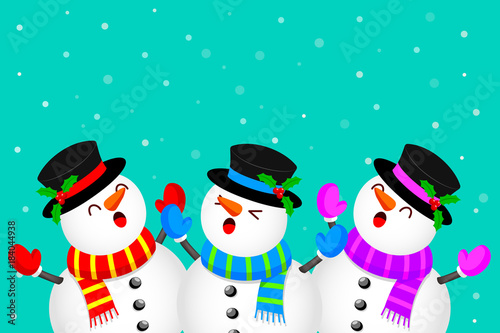 Foto op Aluminium Groene koraal Funny Characters design, snowman raising arms. Merry Christmas and happy new year. Illustration isolated on green background.