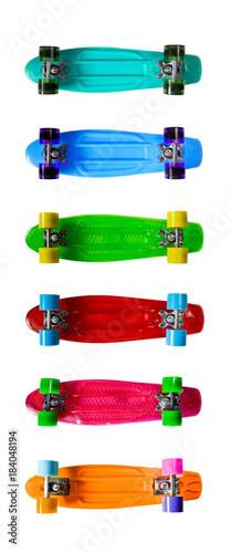 Fotobehang Skateboard Set of colorful skateboards isolated on white background