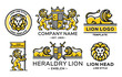 Lion logo set modern line style - vector emblem,  illustration, design on white background