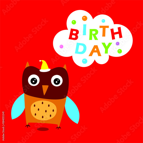 Tuinposter Uilen cartoon cute owl happy birthday greeting vector