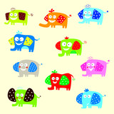 cute elephant vector collection