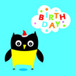 cute owl happy birthday greeting vector - 184056117