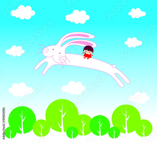 Deurstickers Lichtblauw cute bunny angel cartoon flying with little girl vector