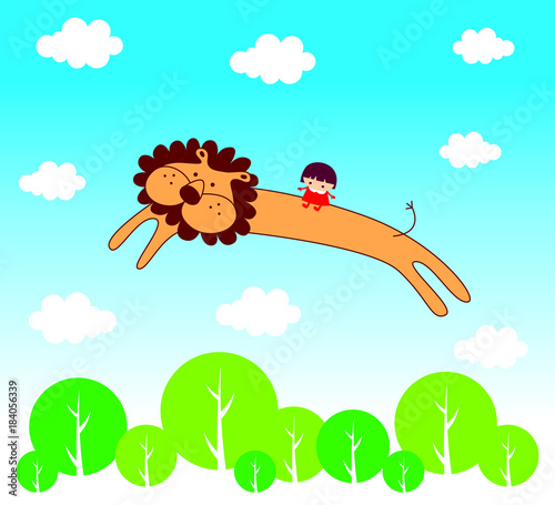 Foto op Plexiglas Turkoois cute lion angel cartoon flying with little girl vector