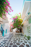 Beautiful architecture building exterior with cycladic style in greek village - 184058364