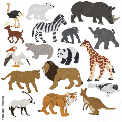 Papiers peints Hyène Collection of African animals on a white background