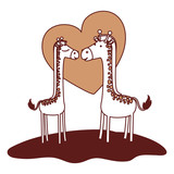 giraffes couple over grass in color sections silhouette with heart in background vector illustration - 184061588